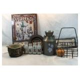 Tin & Wood Wall Decor, Wire Basket, Candle