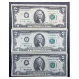 3 - Series 1976 $2 Federal Reserve Notes