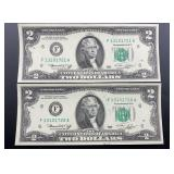 2 - Series 1976 $2 Federal Reserve Notes