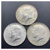 3 - 1965 Kennedy Half Dollars