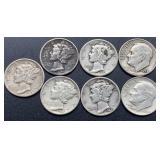5 Mercury & 2 Roosevelt Dimes