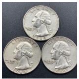 3 - 1964 D Washington Quarters