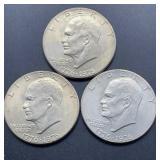 3 - 1876-1976 D Eisenhower Dollars