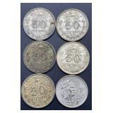 6 - Mexico 50 Centavos Coins