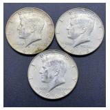 3 - 1968 D Kennedy Half Dollars