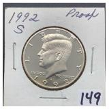 1992 S Proof Kennedy Half Dollar