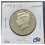 1993 S Proof Kennedy Half Dollar