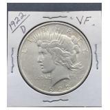 1922 D VF Peace Silver Dollar