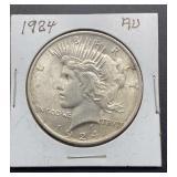 1924 AU Peace Silver Dollar