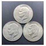 3 - 1972 Eisenhower Dollars