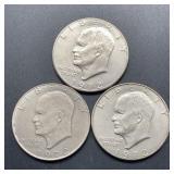 3 - 1972 D Eisenhower Dollars