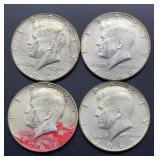 4 - 1969 D Kennedy Half Dollars