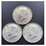 3 - 1969 D Kennedy Half Dollars