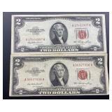 2 - Series 1953 $2 U.S. Notes