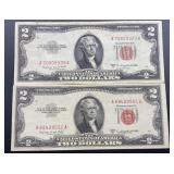 2 - Series 1953 B $2 U.S. Notes