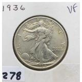 1936 VF Walking Liberty Half Dollar