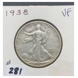 1938 VF Walking Liberty Half Dollar