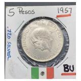 1957 BU 5 Pesos .720 Silver