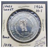 1966 H-1 Proof Ivory Coast 10 FRS.