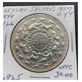 1957 UNC Ceylon 5 Rupees KIY 126 .925