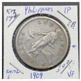 1909 VF Philippines One Peso