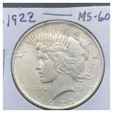 1922 MS60 Peace Silver Dollar