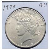 1925 AU Peace Silver Dollar