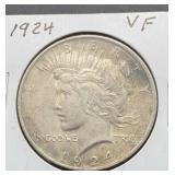1924 VF Peace Silver Dollar