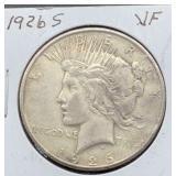 1926 S VF Peace Silver Dollar
