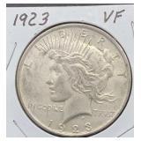 1923 VF Peace Silver Dollar