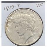 1923 S VF Peace Silver Dollar
