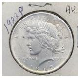 1922 P AU Peace Silver Dollar