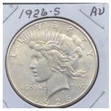 1926 S AU Peace Silver Dollar