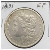 1891 O EF Morgan Silver Dollar