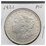 1921 AU Morgan Silver Dollar