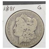 1891 G Morgan Silver Dollar
