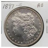 1897 S AU Morgan Silver Dollar
