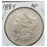 1884 AU Morgan Silver Dollar