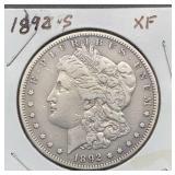 1892 S XF Morgan Silver Dollar