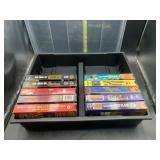 Wrestling vhs tapes on storage case