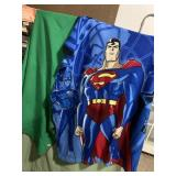 2 throw blankets - Superman and solid green