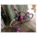 Huffy girls 20in bike with helmet and training