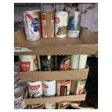 Vintage Empty misc beer cans- 3 1/2 flats full