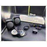 Computer parts- keyboard, speakers, mouse, game