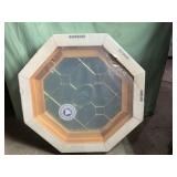 New bare wood octagon window 27in