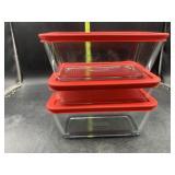 3 rectangle Pyrex bowls with lids