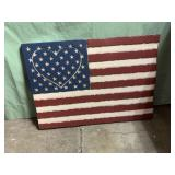 Plastic American flag sign 23x17in