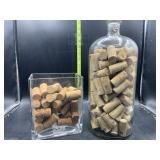 Wine corks in glass decorative pieces
