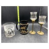 STL glass cup, Iraq coffee mug, brass stem candle