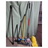 Mops squeegee and cleaning supplies